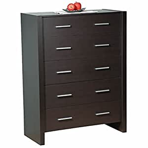 Denver 5 drawer chest espresso brown modern storage for Bedroom furniture amazon