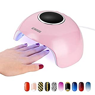 LED UV Nail Lamp, UNISUN Nail Dryer Gel Nail Polish Dryer Machine UV Light Curing Lamp, 30s 60s 90s Timer Professional Machine Manicure/Pedicure, 24W Portable Nail Dryer for Nail Art at Home (pink)