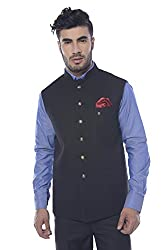 Mohanlal Sons Mens Silk Nehru Jacket (ST-930-1-BLACK-NP1154-38)