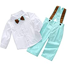Wongfon Piccolo gentiluomo Abbigliamento Bambino T-shirt da ragazzo Bowtie Tops + Pantaloni della tuta da sera Pantaloni per bambini 0-4 anni