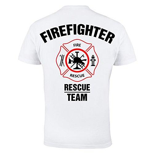 Rule Out Maglietta firefighter. Fire Rescue team. FUOCO brigade. PALESTRA allenamento. sportswear. Casual Bianco