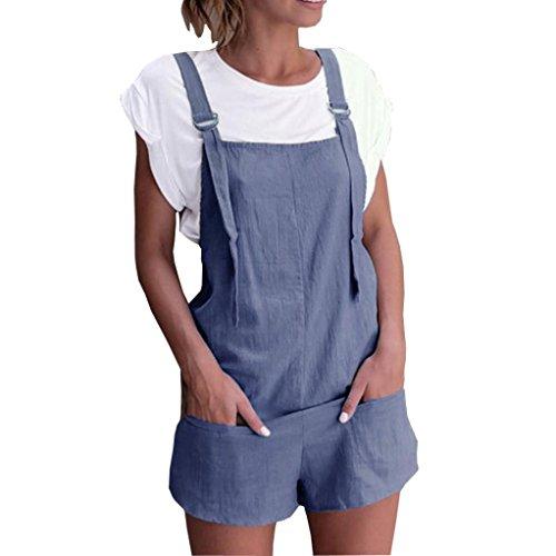 Dragon868 Damen Overall Kurz Elastische Taille Latzhosen Leinen Baumwolle Taschen Strampler Playsuit Shorts Hosen (Blau, L) -