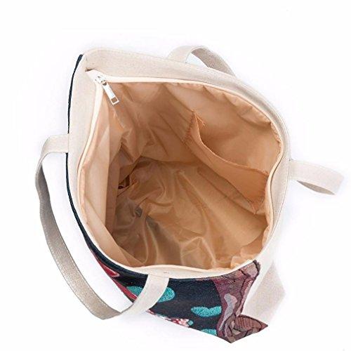 BZLine® Femme Sac à Main en Toile | Sacs à épaule à Motif de Hiboux colorés | Taille: 40×10×35CM E