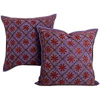 Indiano viola 16x16 cuscino tradizionale Cover Set di 2 floreale in cotone federe Home Decor Ricamato tiro cuscino da