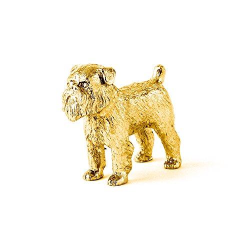 Brüsseler Griffon (rau) Hergestellt in U.K. Kunstvolle Hunde- Figur Sammlung (22 Karat Vergoldung / gold plattiert)