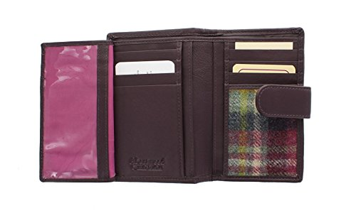 Borsa in Pelle e Tweed Mala Leather ABERTWEED, con Chiusura a Pressione 3124_40 Candy Pink Prugna