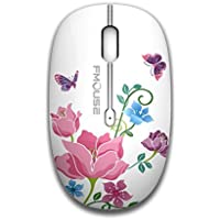 TENMOS M101 Wireless Mouse 2.4G Cute Silent Optical Travel Mice with USB Receiver for Notebook/PC/Laptop/Computer/Macbook ,DPI 1600,3 Buttons(Butterfly)