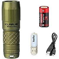 Klarus MINI ONE Key Ring Antorchas CREE XP-G3 LED 130 Lúmenes EDC Llavero Mini Antorcha Linterna pequeña portátil recargable USB con batería de iones de litio 10180 y luces USB (ejercito verde)