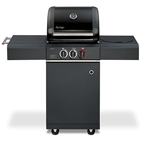 Enders BBQ Gasgrill KANSAS BLACK 2 K Turbo, Gas Grill 8745, Steak Turbo Zone, Simple Clean, 2 Edelstahl-Brenner stufenlos, Grillwagen mit Grillhaube, Seitenkocher