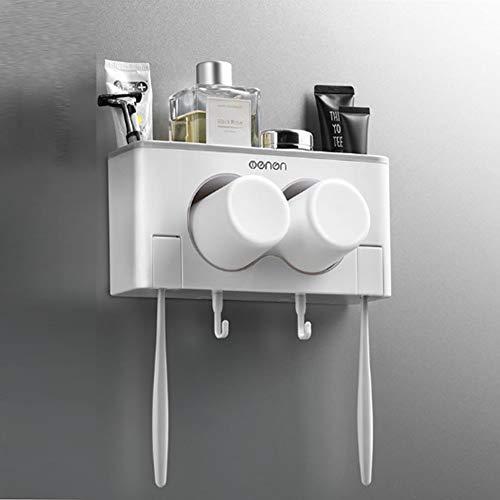 KXYF Zahnbürstenhalter - Zahnpastaständer Halter Spender Badezimmer Caddy Organisator Wand, 2 Steckplätze für Zahnbürste Zahnpasta, 2 Mundschale,Gray -