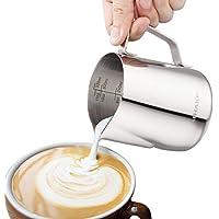 ALHAKIN Acero Inoxidable espumador de leche jarra de leche Leche espumar leche jarra - 350 ml
