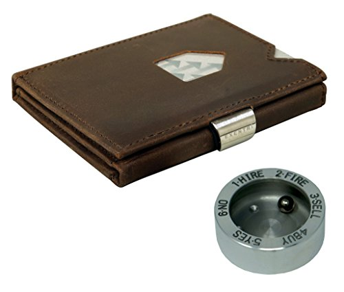 EXENTRI Wallet Geldbörse für bis zu 12 Kreditkarten Leder Börse (Nubuck Brown EX018 (Nubuk Braun)) - Teile Tot Drei
