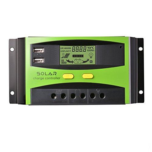 Controlador de cargador solar 30A】  Función del regulador de carga: 1. Gran pantalla LCD. 2. Apoyo de control de luz y control de tiempo.  3. Salida dual USB 5V 3A (5V / 1.5A cada uno).  4. Identificación automática del voltaje del sistema 12V / 24V....