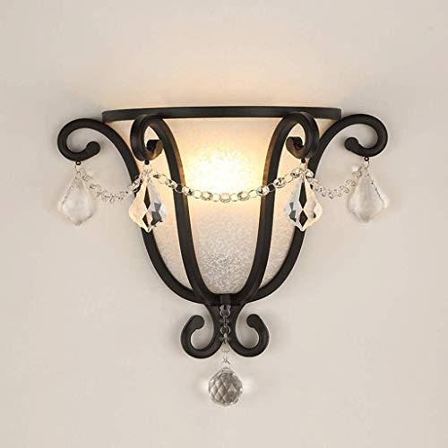 Wapipey Lámpara de pared de hierro forjado americano colgante de cristal hecho a mano cristal esmerilado pantalla de la linterna de la pared de moda dormitorio simple sala de estar lámpara de pared ap