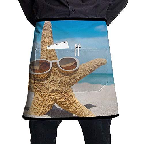 Buy Apron Half Short Aprons Starfish Sunglasses Sand Waist Apron with Pockets Kitchen Restaurant for Women Men Server