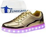 (Present:kleines Handtuch)Golden EU 41, mode JUNGLEST® Aufladen Schuhe Sneaker Herren High LED Sportschuhe für 43 Weiß Unisex-Erwachsene USB Top Lackleder Farbe Sport Grö