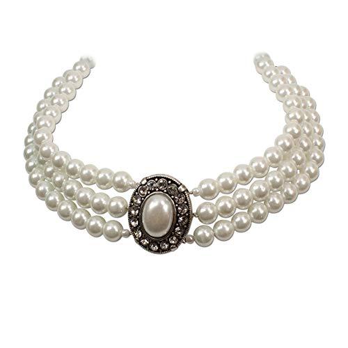 Heimatflüstern Trachtenschmuck * Trachtenkette Perlen 3-reihig * Damen Dirndlkette * Perlenkette mit Strass-Steinen * Oktoberfest Dirndl-Schmuck (Creme-weiß)