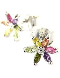 Les Trésors De Lily [N6263] - Boucles argent 'Fleurs de Cristal' tutti frutti (rhodié) - 8x8 mm