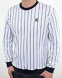 Fila Vintage Herren Valencia Velour Gestreiftes Sweatshirt, Weiß, Large