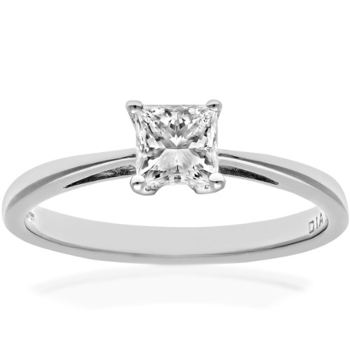 Naava Women's 18 ct White Gold Four Claw J/I Certified Princess Cut 0.50 ct Diamond Solitaire Engagement Ring, Size N