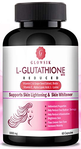 Glowsik 1000Mg L- Glutathione for Glow Skin with Grape Seed, Vitamin C and Biotin - 60 -Capsules