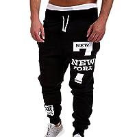 iYBUIA Men's Fashion Trousers Print Pants Casual Pants Sweatpants XXXX-Large Black