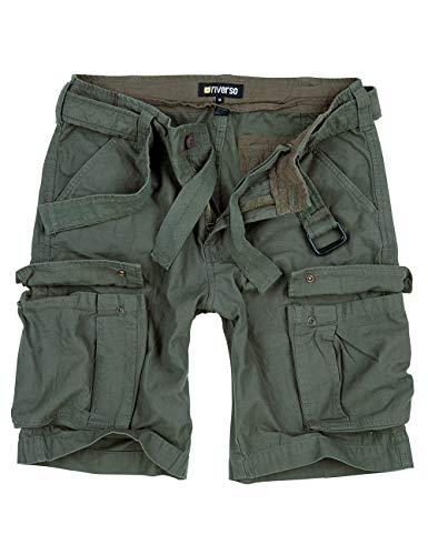riverso Herren Cargo Shorts Fynn Kurze Hose Vintage Bermuda mit Gürtel S - 7XL aus 100{c26b0753d32774dd6db9897c092b9f3b57abd2309615e580121b3d5804ce41ea} Baumwolle, Größe:6XL, Farbe:Olive (61)