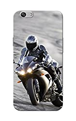 Oppo F1S Case, Bike Racer Grey Black Slim Fit Hard Case Cover/Back Cover for OPPO F1s