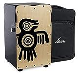 XDrum Pro Cajon Peruana Ash (2 Schlagplatten aus Birke und Esche, Snare On/Off-Funktion auf Birkenseite, 50 cm hoch, inkl. Rucksack-Tasche)