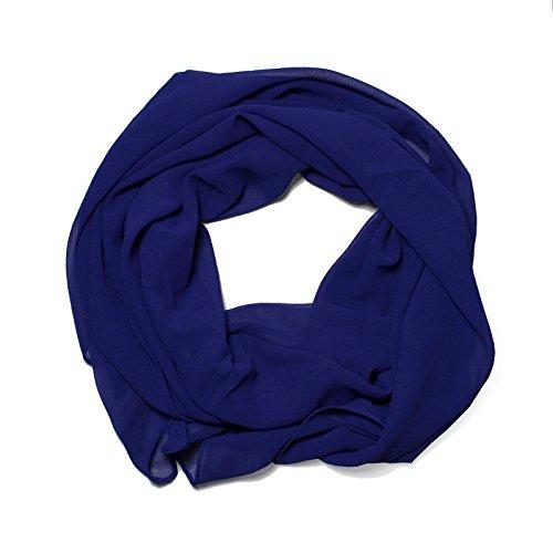 DOLCE ABBRACCIO Damen Schal Stola Halstuch Tuch aus Chiffon für Frühling Sommer Ganzjährig Royalblau Blau