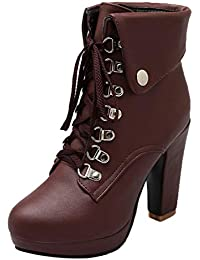 2a1d59b7422e AIYOUMEI Damen Schnürstiefeletten Blockabsatz Plateau High Heel Stiefeletten  mit Schnürung und Absatz 10cm Ankle Boots Women