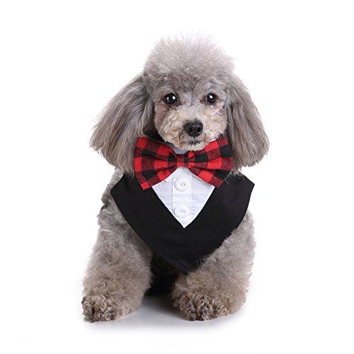 Amakunft Formale Hund Tuxedo, Hund Bandana Schal mit Hund Krawatte, Halsband Hund Kleidung Puppy Verkleiden Kleidung für Hochzeit Party Oder Halloween (Verkleiden Halloween Männer)