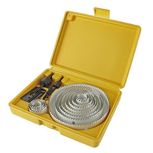 YAOBLUESEA Lochsäge-Kit 16 tlg Lochsäge 19-127 mm Kreisschneider Lochkreissäge Lochbohrer Bohrwerkzeug für PVC-Rohr, Holz, Kunststoff, Blech,Gipskarton (mit 19 Stück)