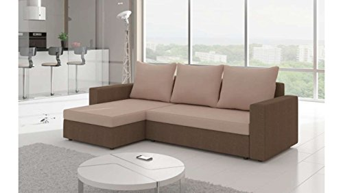 Justhome livio divano angolare divano letto microfibra (lxlxa): 150x237x85 cm beige marrone penisola a sinistra