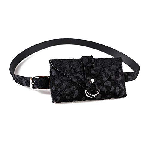 leegoal - Bolso de Piel para Mujer, diseño de Leopardo, con cinturón extraíble Negro Negro