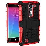 Funda Duro Tapa Case Cover - TOOGOO(R)Para LG Magna(LG G4C/LG G4 mini), Funda Carcasa Duro Tapa Case Cover con soporte (rojo) + Gratis aguja de la pantalla stylus universales