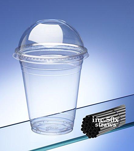 Vasos de batido con campana de cristal Tapas y Pajitas. Capacidad 340/340ml (50unidades). Ideal para bebidas con hielo, zumos, cafés y batidos.