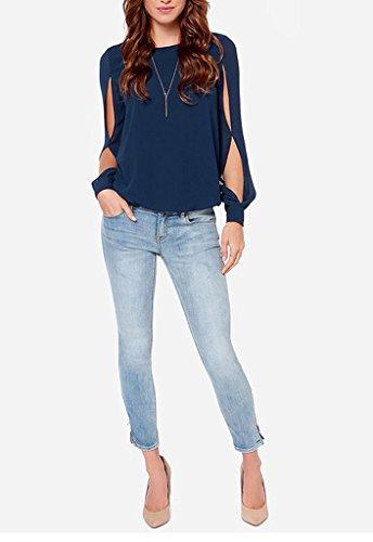Bigood Chemise Manche Longue Femme Mousseline de Soie Blouse Chemisier T-shirt Col Rond Bleu Foncé