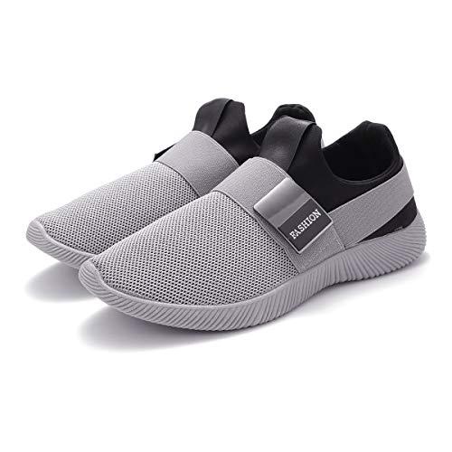 Zapatillas Running para Hombre, Gracosy Sneakers Calzado Deportivo Aire Libre Deportes Fitness Casual Sneakers Gimnasia Ligero Mujer Trenzado Zapatos Correr en Montaña y Asfalto Aire Gris 40 EU