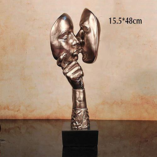 RUIX Mode Kreative Handwerk Dekoration Home Hotel KTV Dekoration Abstrakte Kunst Charakter Skulptur, Küssen Paar, 15,5 * 48 cm (Küssen Skulptur)