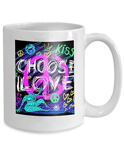 Coffee Mug Tea Cup Home choose love peace sign girls trendy neon kiss hearts lips slogan pencil marker ink pen doodles sketch 110z (Lip Beste Pencil)
