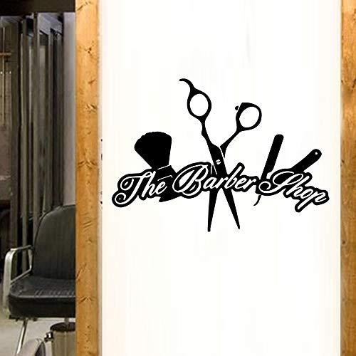 TYLPK Diy art friseursalon friseursalon wandaufkleber wasserdichte wand dekor aufkleber wandhaupt dekoration vinyl hintergrund wandtattoos schwarz l 43 cm x 61 cm