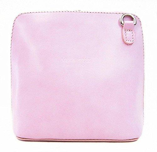 Vera Pelle italiana di borsa a tracolla da donna Rosa (Rosa - Baby Pink)