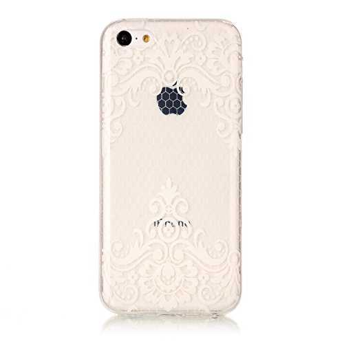 Custodia iPhone 5C, iPhone 5C Cover Silicone Trasparente, SainCat Custodia in Morbida TPU Protettiva Cover per iPhone 5C, 3D Creative Design Transparent Silicone Case Ultra Slim Sottile Morbida Transp Lace Diagonal