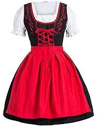 Dirndl 3 pezzi, vestito Dirndl, camicia, gonna, formato 34-46 rosso nero
