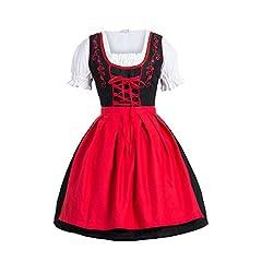 Idea Regalo - Bongossi-Trade Dirndl 3 pezzi, vestito Dirndl, camicia, gonna, formato 34-46 rosso nero 46