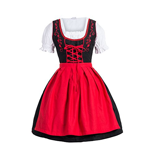 Bongossi-Trade Dirndl 3 TLG.Trachtenkleid Kleid, Bluse, Schürze, Gr. 44 schwarz rot