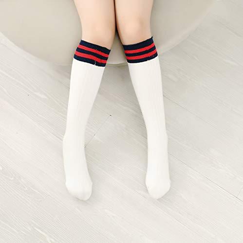 Fuwux home calze a tubo centrale college vento calze a calzettoni uomini e donne a righe verticali calze di cotone calzini (color : white, size : 312)