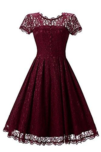 zekleid-Cocktailkleid Knielanges Weinlese 50s Ballkleid Frauen Party Kleid- Rot, M (Frauen M&m Rot Party Kleid)