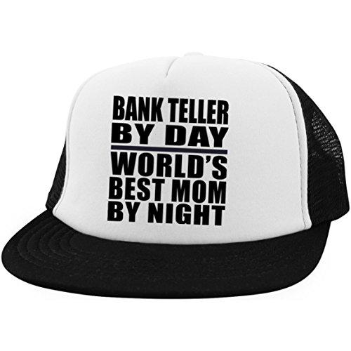 Bank Teller by Day Worlds Best Mom by Night - Trucker Hat Fernfahrer-Kappe Golfkappe Baseballkappe - Geschenk zum Geburtstag Jahrestag Muttertag Vatertag Ostern Brushed Twill Hat